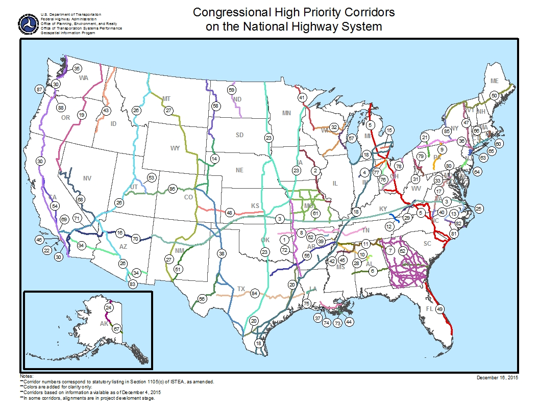 High Priority Corridors New And Upgraded Interstate Highways